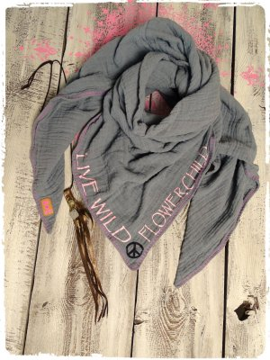 Crinkle Scarf grey cotton