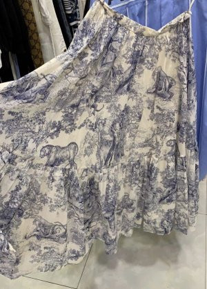 Jupe longue blanc-bleu azur