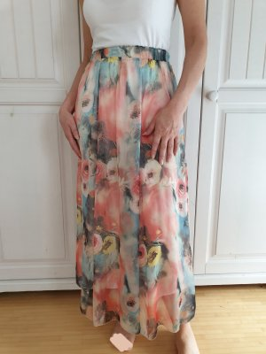 Maxi rock Maxirock blumen sommer Langer Kleid skirt dress XS S Hochzeit Brautjungfer
