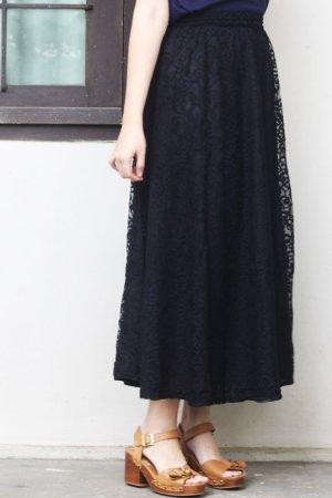 Maxi Schwarz Spitzenrock Klassich Black Lace Skirt