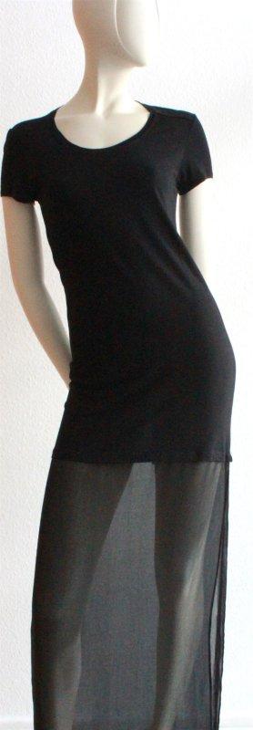 Maxi Shirtkleid mit durchsichtigem unteren Teil