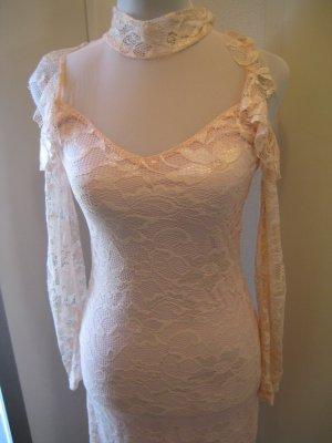 Maxi Spitzen Kleid Rose Langarm Gr XXS/XS Neu Cocktail Abend Ball Hochzeit