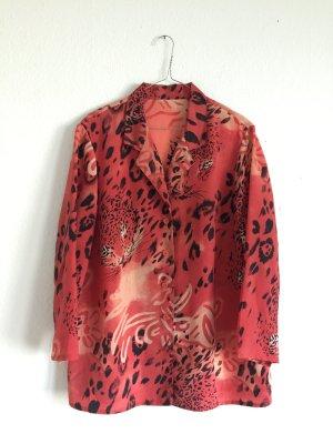 Maxi vintage Hemd in rosa/rot mit bedrucktem Tiermuster