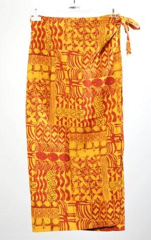 Falda cruzada naranja dorado-rojo oscuro Lino
