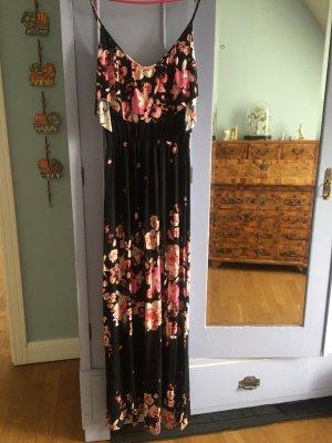 Maxidress Boho Blumenkleid schwarz pink 36-38
