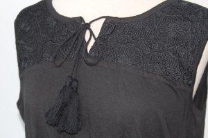 Maxikleid 100% Baumwolle Gr. 42 M L Sommerkleid Kleid lang schwarz neu Spitze hippie lang