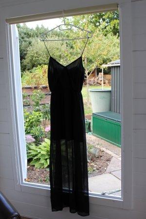 H&M Vestido largo negro Poliéster