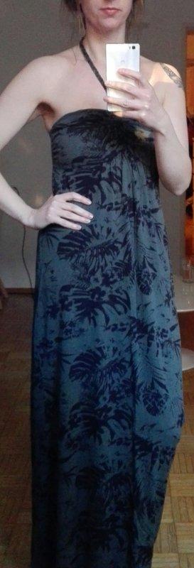 Maxi-jurk zwart-donkergroen