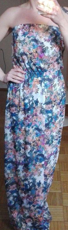 Bershka Vestido largo blanco-azul