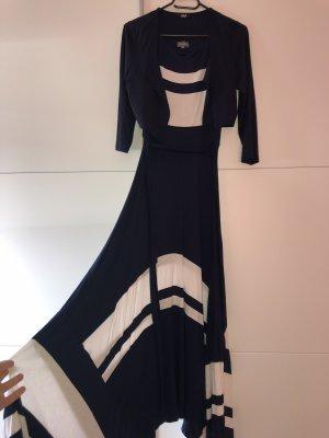 Karstadt Robe longue bleu foncé-blanc