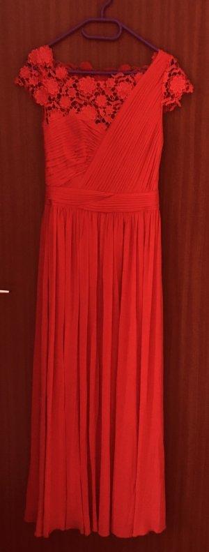Maxikleid Abendkleid Coast Kleid Lace Blumenmuster Rot Korallenrot Gr. 36 S