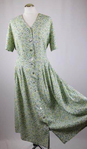 088f2db209d Maxikleid Blümchen Millefleur langes Kleid Größe 40 42 Gelb Grün Weiß Blau  Vintage Knopfleiste Hemdblusenkleid Landhaus