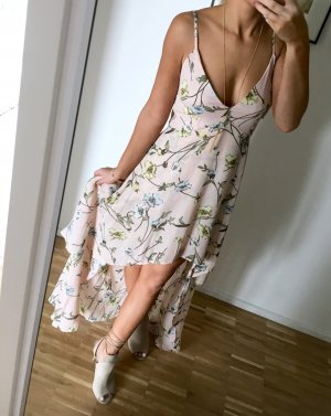 Maxikleid Boohoo 36 Nude Rose Kleid Lang Blumen Floral Rüschen Volants High Low