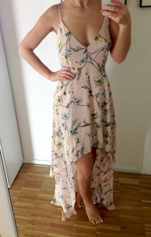 Maxikleid Boohoo 36 Nude Rose Kleid Lang Blumen Floral Rüschen Volants High Low