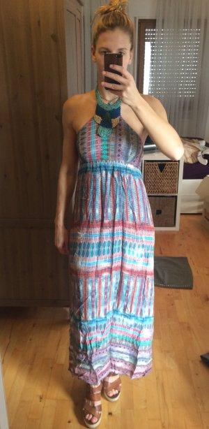 Vestido largo multicolor tejido mezclado