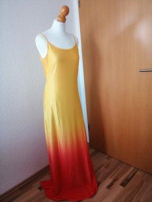 Maxikleid gelb rot Farbverlauf Kleid Sommerkleid 38 40
