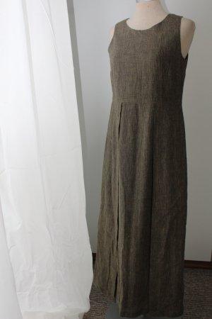 Maxikleid Gr. 36 S hochwertig Carlo Colucci Leinen Baumwolle Struktur Kleid lang braun gelb schwarz