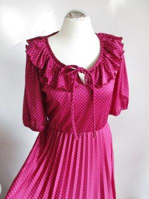 Maxikleid Gr: M 38 C&A Punkte Lila Aubergine Purpur Kleid Plissee Schluppe Jersey Bubikragen Dots Rüschen Rockabilly Vintage 80er