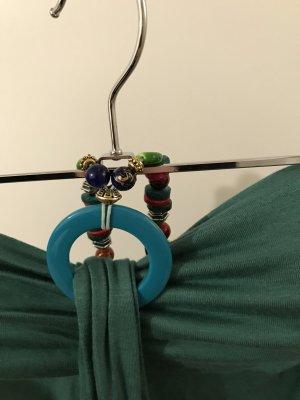 Maxikleid Grün S 36 Bandeau mit Perlen Strandkleid neu mit Etikett