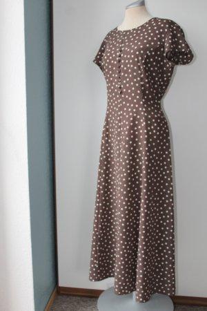Maxikleid Kleid lang braun weiß Punkte Pretty women Kleid Gr. 14 EUR 42 D 40 M L Kaleidoskope