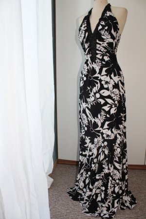 Maxikleid Kleid lang Neckholderkleid rückenfrei schwarz weiß Perlen 36 S Neckholder