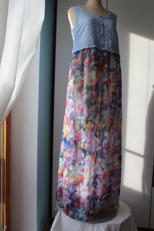 Maxikleid Kleid lang Sommerkleid New Look Gr. S 36 blau bunt Blumen Chiffon