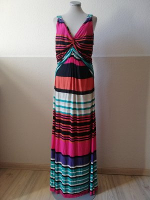 Maxikleid Kleid maxi Sommer Sommerkleid lang gestreift pink grün schwarz weiß Streifen Gr. UK 18 EUR 44 46