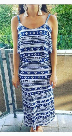 Maxikleid Kleid S Marine Azteken Ethno blau weiß blogger hipster