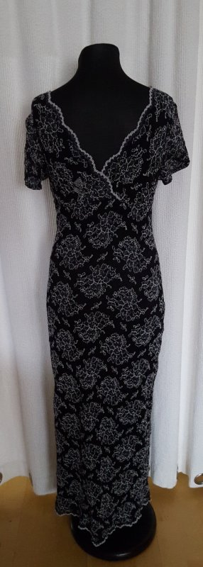 Maxikleid Kleid schwarz weiß 36/38