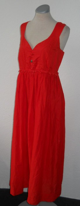 Maxikleid Midikleid rot orange Baumwolle Gr. UK 12 EUR 40 retro