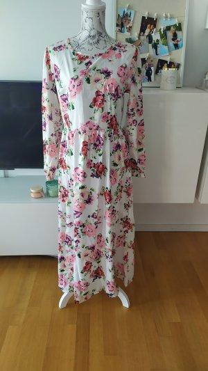 Maxikleid mit Blumen gr XL weiss rosa neu