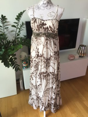 Maxi-jurk wit-bruin Polyester