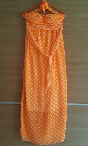 Maxikleid Neckholder Orange Weiß Gr. 38