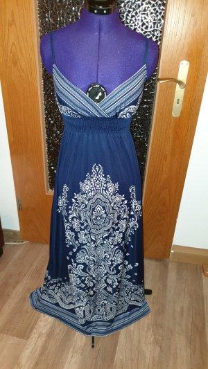Maxi-jurk wit-blauw
