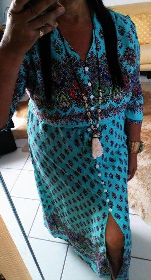 Robe longue bleu clair-turquoise