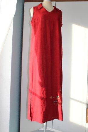 Maxikleid rot Gr UK 10 38 M Kleid lang geschlitzt bestickt 55%Leinen Sommerkleid