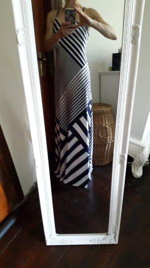 Vestido largo azul-blanco