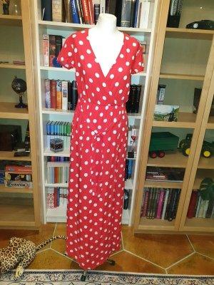 Maxikleid Schlitz am Bein Vila Langes Kleid Gr. 36 (S) NEU rot weiß