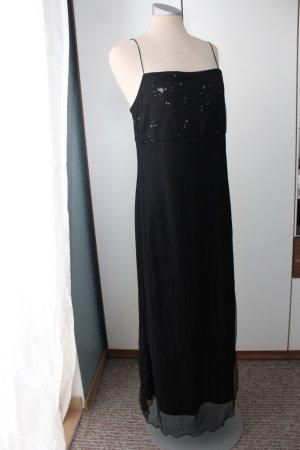 Maxikleid schwarz blickdicht Gr. 38 M Pailletten Kleid lang Abendkleid