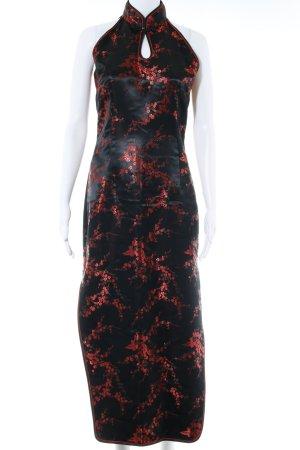 Vestido largo negro-rojo estampado floral estilo extravagante