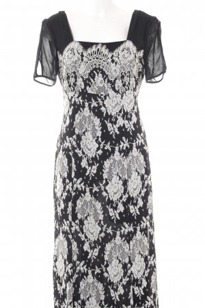 Maxi Dress black-white floral pattern