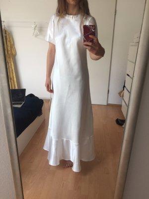 Maxikleid Seide T-Shirt weiß
