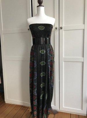 Maxikleid Sommerkleid grün rot gemustert Kleid lang M = 38 / 40 wie NEU