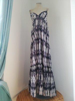 Maxikleid Sommerkleid Kleid lang weiß lila batik Trägerkleid Gr. UK 10 EUR 38 S M New Look