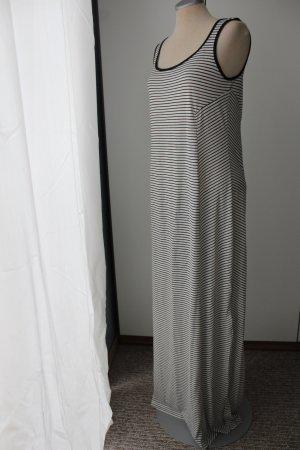 Maxikleid Trägerkleid Kleid lang gestreift Streifen Gr. 40 M L schwarz weiß Sommerkleid