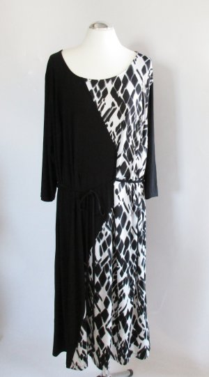 Maxikleid Ulla Popken Größe 54 / 56 Schwarz Weiß Grau Leo Muster Asymmetrisch Kleid Tunika Long Jersey