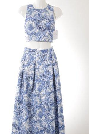 Maxikleid weiß-blau florales Muster Casual-Look