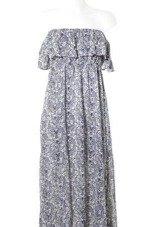 Maxi abito bianco-blu scuro motivo floreale stile spiaggia