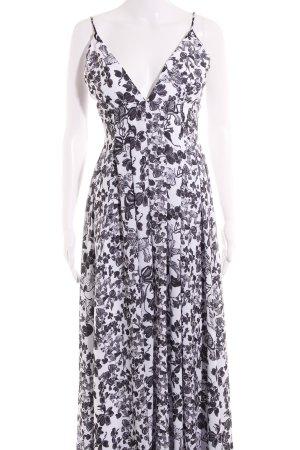 Vestido largo blanco-negro estampado floral estilo clásico