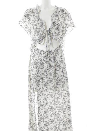 Maxikleid weiß-schwarz florales Muster Boho-Look